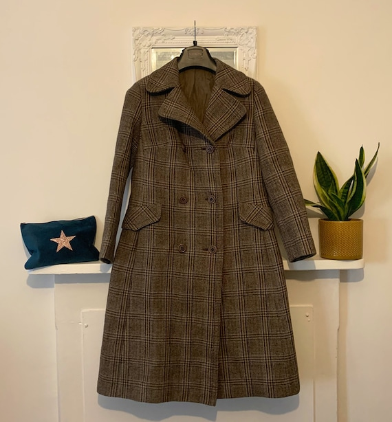 70s Tweed Double Breasted Wool Coat - midi length