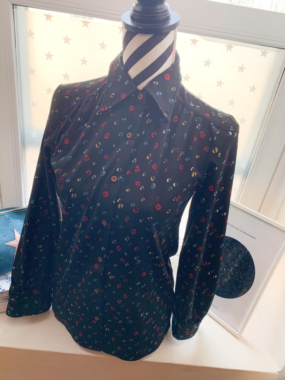 70's vintage blouse  shirt navy and red leopard sp