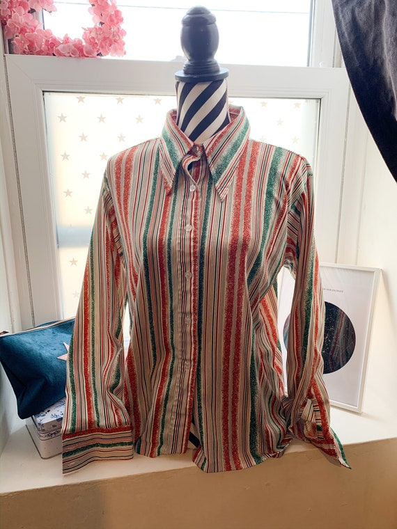 70s Blouse Shirt Vintage Japanese 70's Vintage gre
