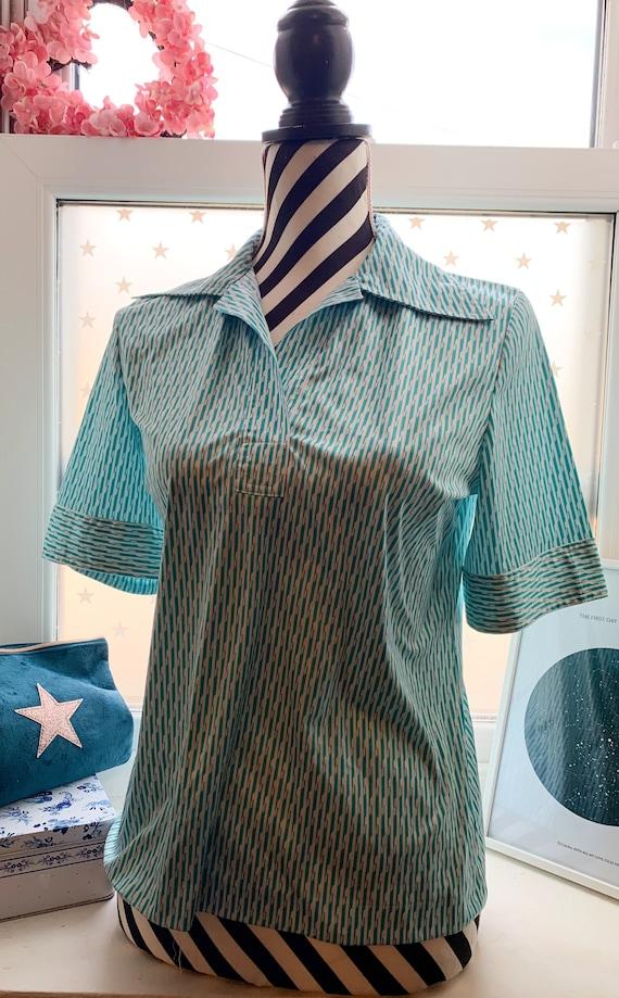 70s vintage Blouse Shirt 70s Vintage Japanese turq