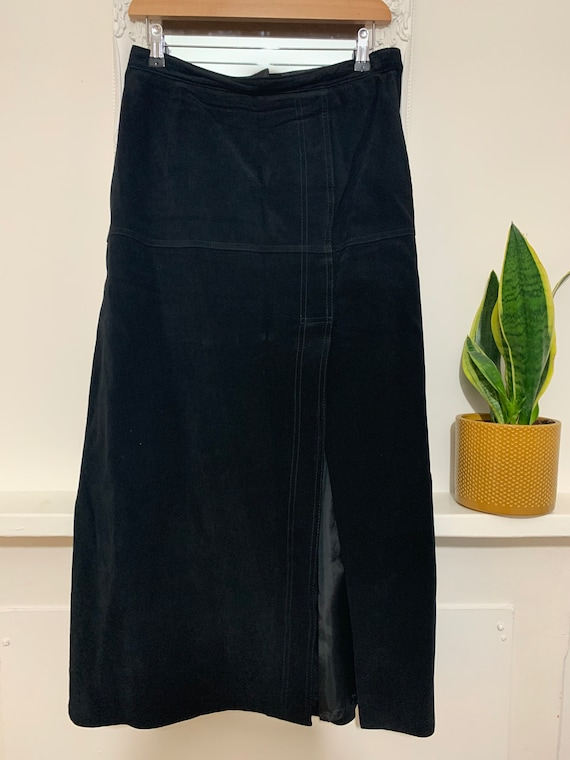 80s A-Line Suede Skirt Black Fully Lined Front Spl
