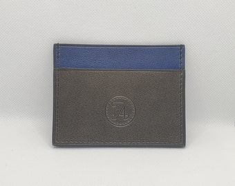 Card holder in grey and blue leather, Silver fleece collection, horizontal model