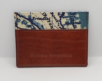 Leather and fabric card holder, horizontal model