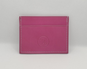 Pink leather card holder, Silver fleece collection, horizontal model