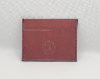 Horizontal card holder in red nubuck Silver fleece