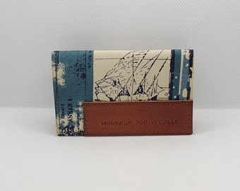 Card holder in leather and fabric, foldable model