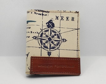 Leather and fabric wallet, essential model