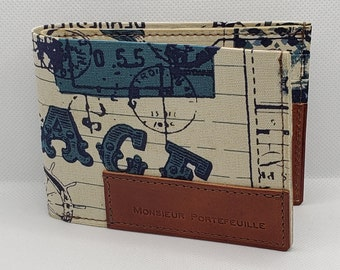 Leather and fabric wallet, model for Canadian and American banknotes
