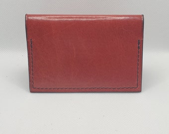 Red and black leather card holder, Silver fleece collection, foldable model
