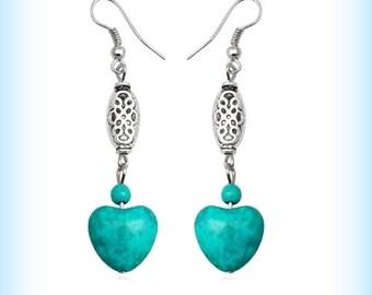 Tibetan silver earrings Turquoise heart earrings Gypsie surfer hippy earrings Long Boho chic bohemian