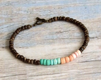 Boho bracelet Coconut wood and vintage color beads Hand Beaded Jewelry Women's Gift for her bronze toggle clasp Beach wear