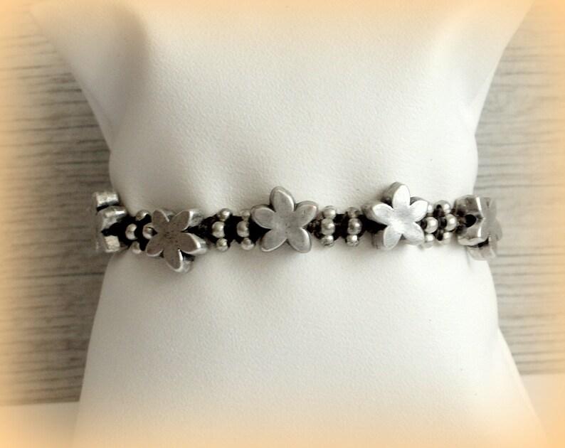 Hand woven Boho bracelet gypsy Friendship bracelet Wish Karen Hill Tribe silver beads ECO friendly COTTON bag Gift for Girl Summer bracelet