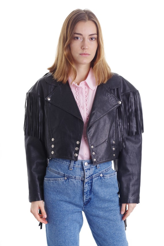 Vintage Fringed Leather Jacket || Fringe  Black Ja