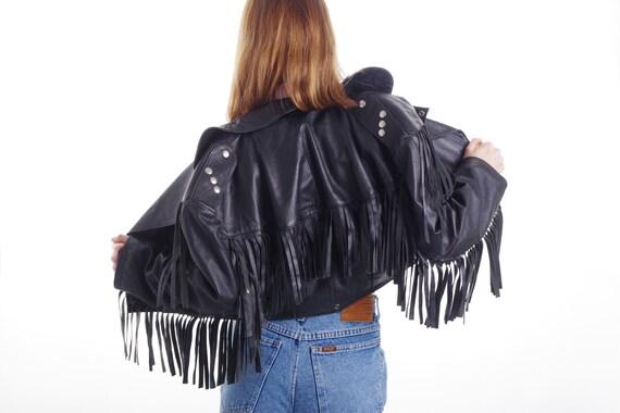Vintage Fringed Leather Jacket || Fringe  Black J… - image 3