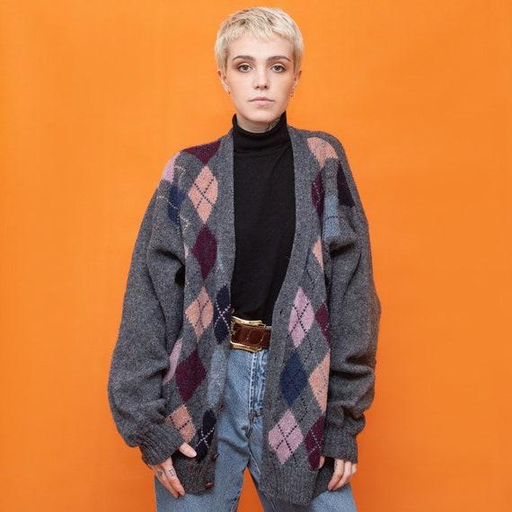 Vintage 90s Wool gray argyle cardigan Norton & Wil