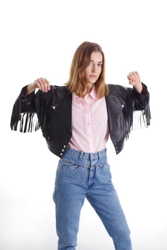 Vintage Fringed Leather Jacket || Fringe  Black J… - image 2