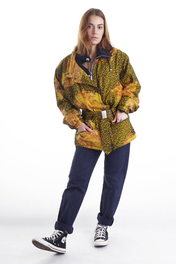 Vintage 80s Yellow Winter Jacket with Belt L - image 1