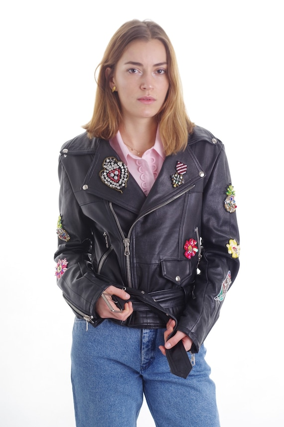 Vintage Genuine Leather Jacket with Colorful Patch
