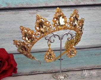 Blush Gold Tiara Crystal Bridal Tiara Blush Bridal Jewelry Diadema Blush Wedding Tiara Vintage Gold Tiara  Bridal Jewellery