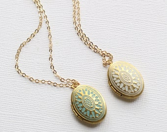 Small Gold Locket Necklace-Painted Locket Turquoise or White-Photo Locket Necklace-Minimalist Necklace-Simple Gold Locket-Gold Filled
