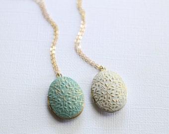 Painted Gold Locket-Long Locket Necklace-Turquoise or White Painted-Gold Layered Necklace-Photo Locket Necklace-Minimalist Jewelry
