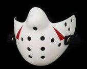 Friday The 13th Jason Voorhees Mask white clean, white Blood  real blood effect, Half mask Hockey washable antifluid