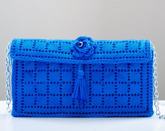 Hand Made Knitted Blue Wedding Purse