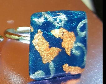 Blue and Gold/Copper-coloured handmade and hand-painted silver-plated ring