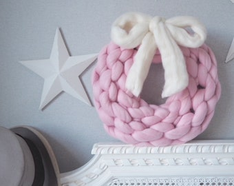 Ready to Ship** Snuggle Wreath, chunky merino wool