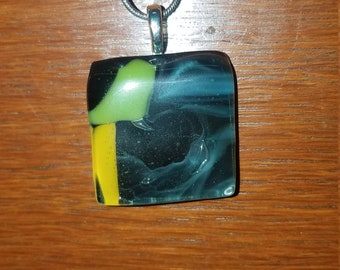 Zume Glass - Smoke and Mirrors - Handmade Glass Fused Pendant