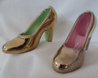 9eaa22bad87 Vintage Miniature Gold Porcelain Shoes