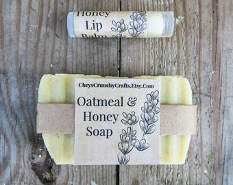 Bundle Honey Soap & Lip Balm - Bundle Set - Soap With Lip Balm - Honey Soap - Honey Chapstick - All Natural - Gift Set - Easter Gift