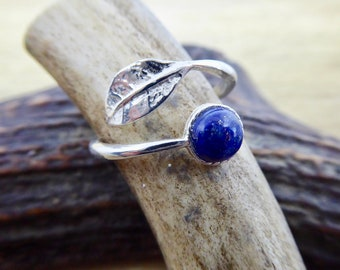 Sterling Silver Adjustable Leaf Ring with Lapis Lazuli Cabochon