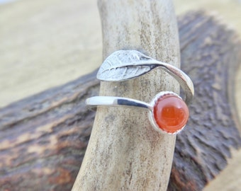 Sterling Silver Adjustable Leaf Ring with Carnelian Cabochon