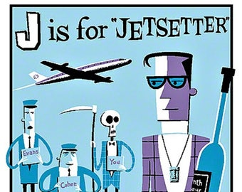 ART STICKER J Is Jetsetter by Artist Shag Decal #SH11