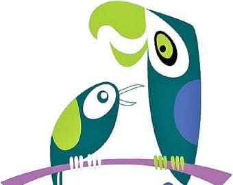 ART STICKER Exotic Birds by Artist Shag Decal #SH110