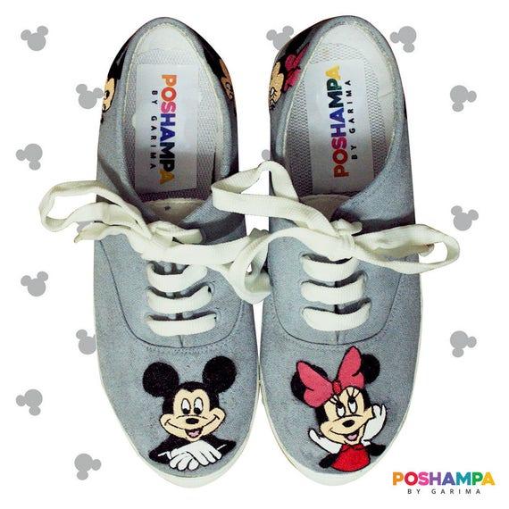 Mickey & Minnie main peint à la main Minnie chaussures cde500