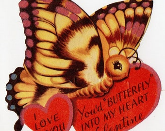 Vintage Butterfly Valentine | Valentines Antique Butterflies Insects Bugs Bug Insect Anthropomorphic Hat Hearts Bow Robins | Paper Ephemera