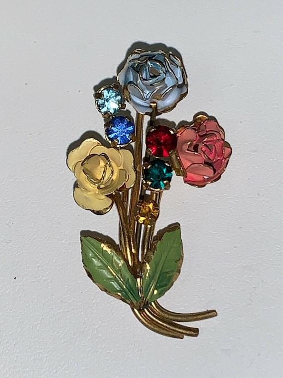 Vintage Marked Austria AB Rhinestone Flower Bouquet Black Enamel Gold Tone