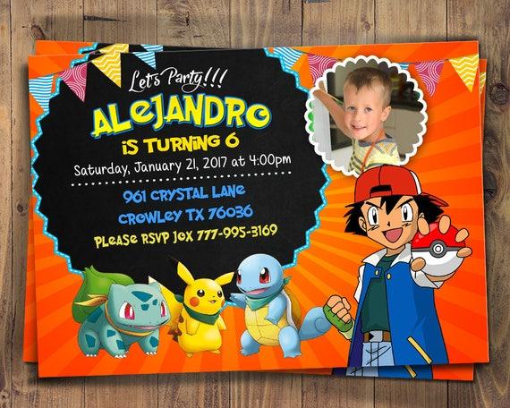 Pokemon Birthday Invitation Invite Digital File