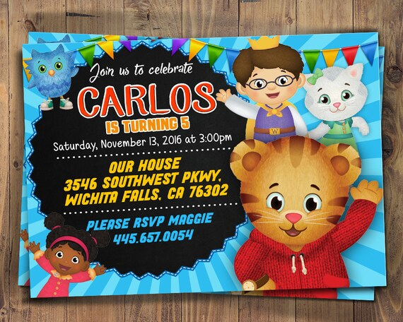 Daniel Tigers Neighborhood Birthday Invitation Tiger