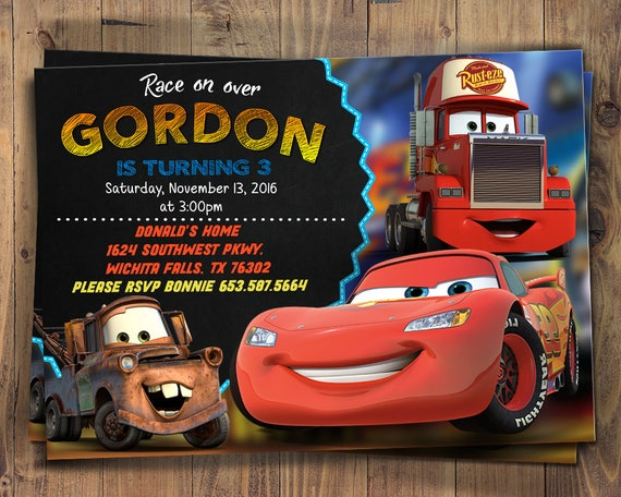 Cars 3 Birthday Invitation Party Invite Lightning