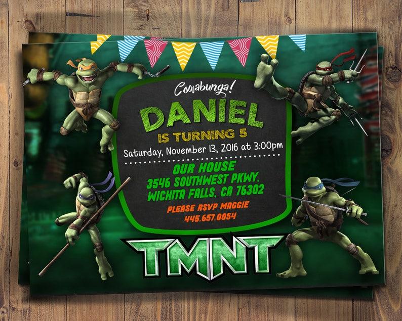 TMNT Invitation Teenage Mutant Ninja Turtles Invitations Party