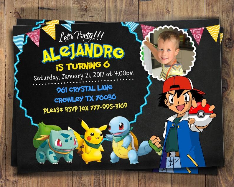 Pokemon Party Invitation Birthday Invite Digital File Card GO