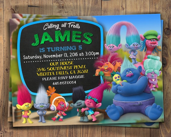 picture regarding Trolls Printable Invitations identified as Trolls Invitation for Lady and Boy, Printable Invite, Trolls Video Electronic Birthday Invites Tailored, Trolls Bash,