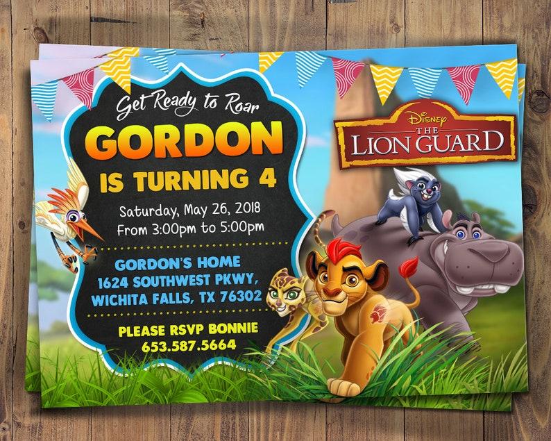 The Lion Guard Birthday Invitation Party Digital Invite