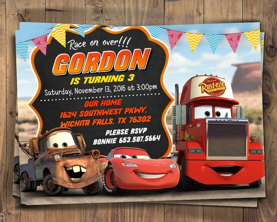 Birthday Invitation Cars 3 Party Invite