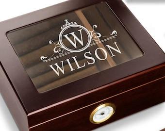 Personalized Cigar Box Gift - Custom Cigar Humidor – Filligree Cigar Holder Box – Cigar Humidor Gift – Groomsmen Cigar Gift – Wood Cigar Box