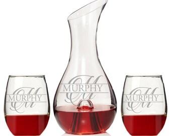 Personalized Split Letter Monogram Wine Decanter, Custom wine Decanter, Heart Wine Glass, Personalized Wedding Gift, Engraved Wine Decanter