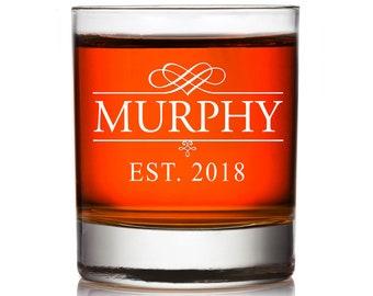 Custom Engraved Personalized Whiskey Glass, Custom Monogram Rocks Glass Gift ,Wedding Party Gift, Engraved Groomsman Whiskey Glass,